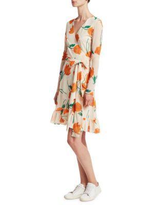28f65bdc Ganni Woman Floral-Print Mesh Wrap Dress Off-White | ModeSens