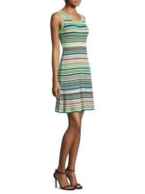 Milly Rib-Knit Multi-Stripe Sweater Dress In Rainbow Multi
