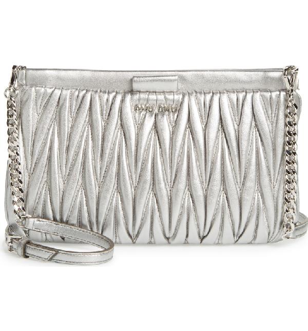 f52fbf0ecabb Miu Miu Matelasse Lambskin Leather Clutch - Metallic In Silver ...