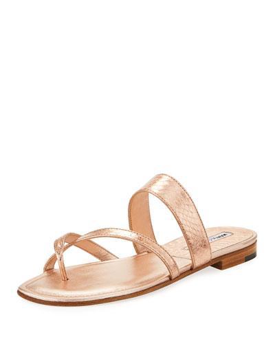 ef88de62a352a (Pink only) Manolo Blahnik snakeskin slide sandal. Available in multiple  colors. 0.8