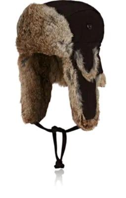6b0422ca1a707 Crown Cap Fur-Trimmed Wool-Blend Trapper Hat In Brown