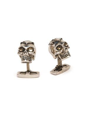 Alexander Mcqueen Men's Star Skull Cuff Links In Gold