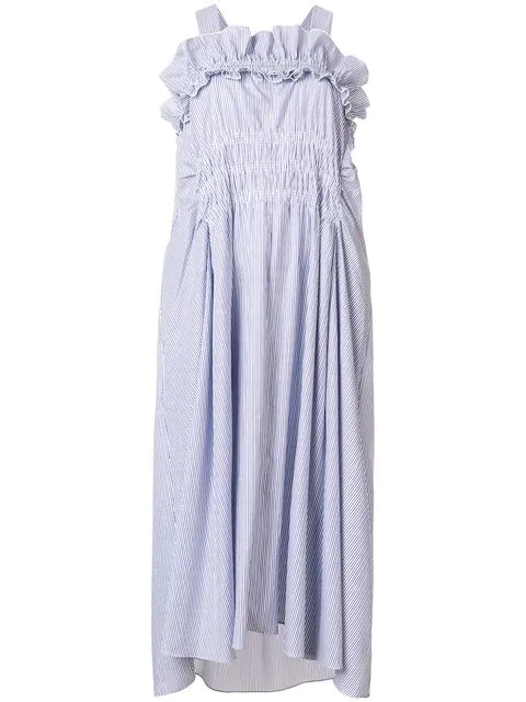 88a629171229 Carven High-Neck Sleeveless Striped Cotton Midi Dress With Ruffled Frills In  Sky Blue
