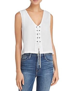 Bella Dahl Grommeted Lace-Up Front Top In White
