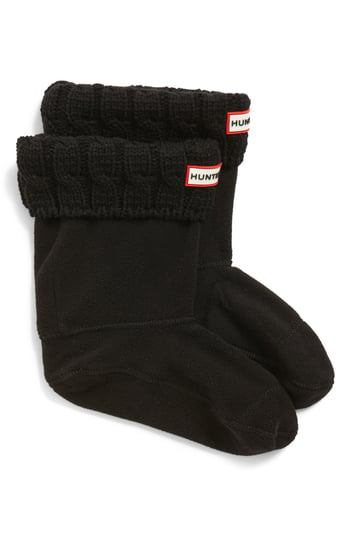 Hunter Original Short Cable Knit Cuff Welly Boot Socks In Black