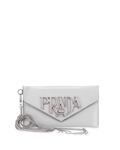63e557b1db4bed Spazzolato Logo Envelope Clutch Bag. Prada spazzolato calf leather ...