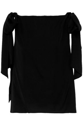 Milly Woman Bow-detailed Stretch-silk Top Black