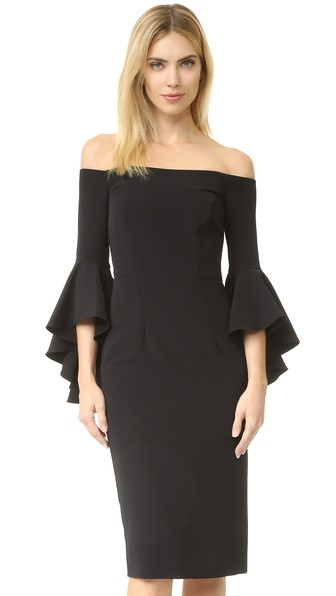 Milly Selena Stretch Cady Off The Shoulder Midi Dress In Black