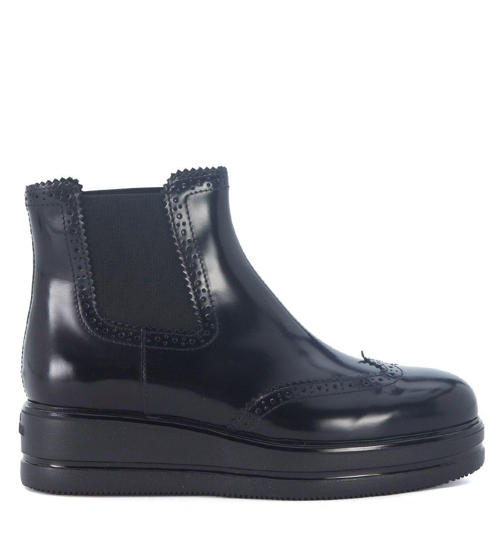 Hogan H323 Black Leather Ankle Boots In Nero