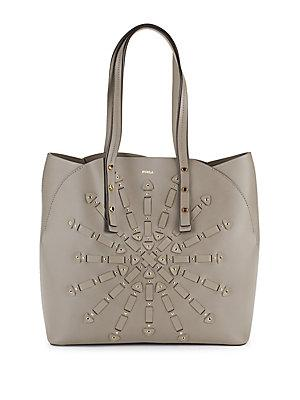 Furla Aurora Embellished Leather Tote In Sabbia