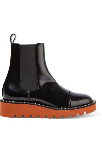 486107789a1 Woman Faux Patent-Leather Chelsea Boots Black