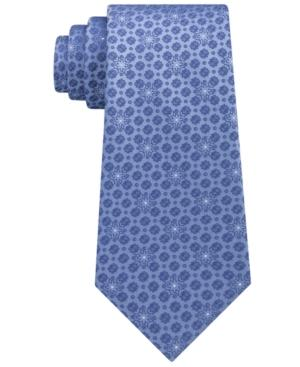 Calvin Klein Men's Medallion Silk Tie In Blue