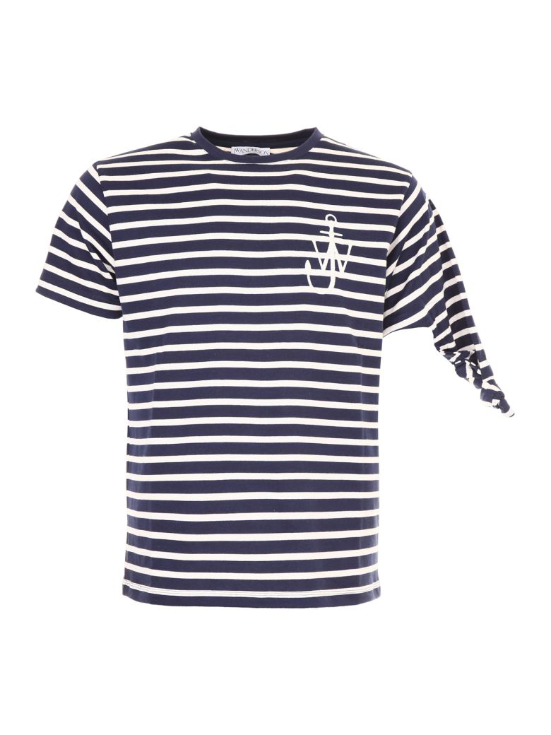 Jw Anderson Knot T-shirt In Navybianco