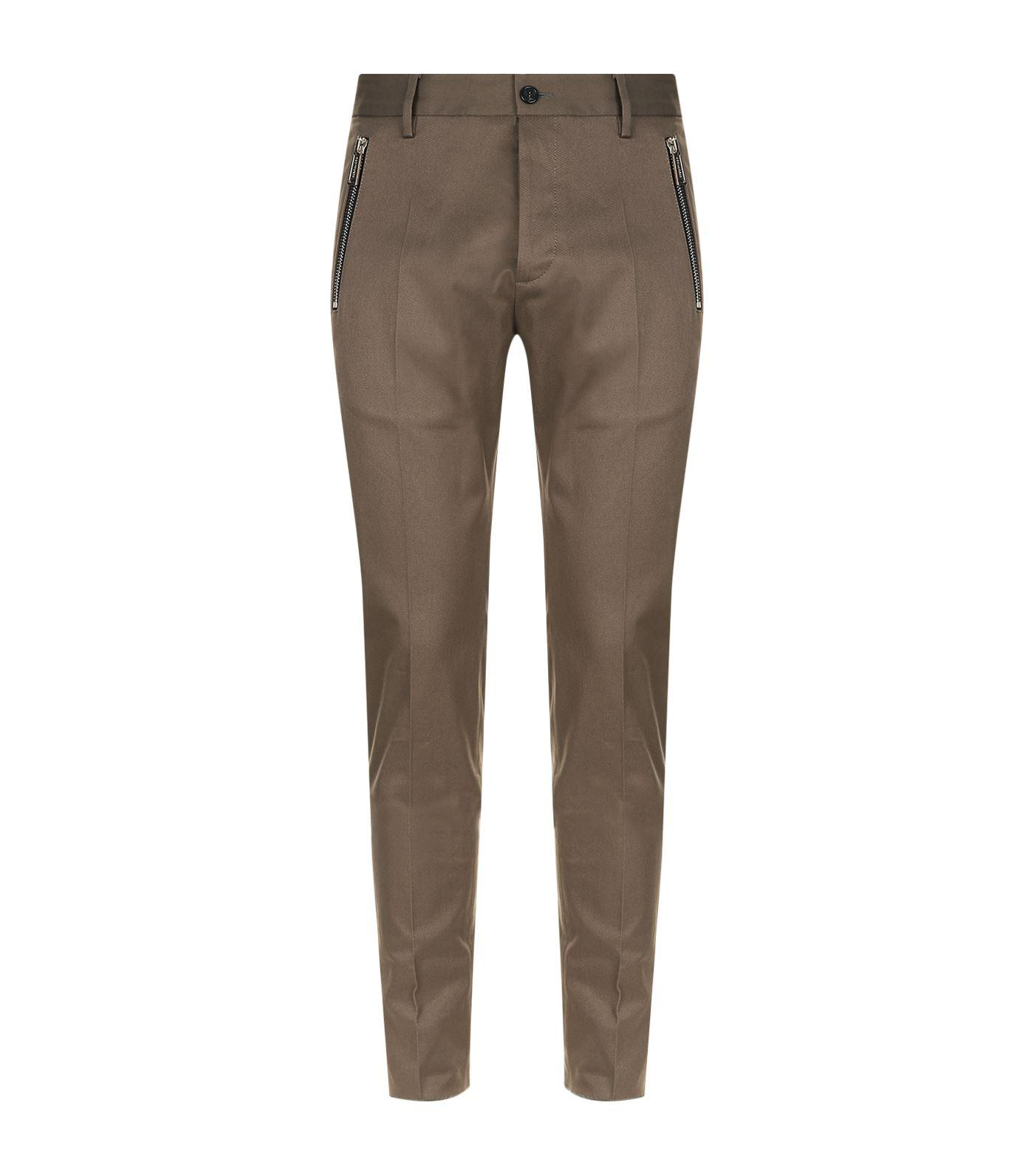 Dsquared2 Cotton Twill Stretch Trousers In Brown