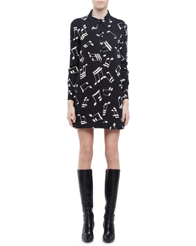 87f82358be1 Saint Laurent Shirt Dress In Black And Off White Musical Note Printed  Viscose In Black/