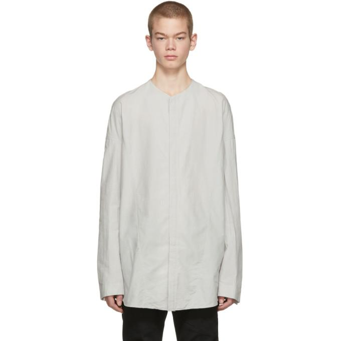09be27842c1d Julius Grey Seamed Collarless Shirt In Plaster