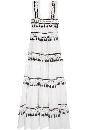 Dodo Bar Or Logo.Dodo Bar Or Woman Tiered Embellished Embroidered Cotton Gauze Maxi Dress White