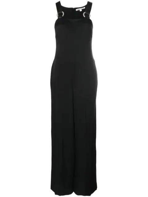 Elizabeth And James Loordes Embellished Satin-trimmed Cady Jumpsuit In Black