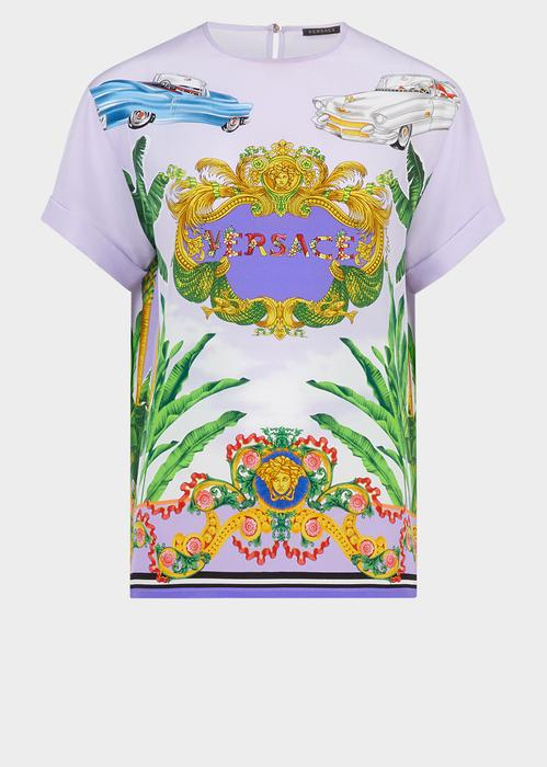 Versace Baroque Miami Print Silk Twill Top In Pink