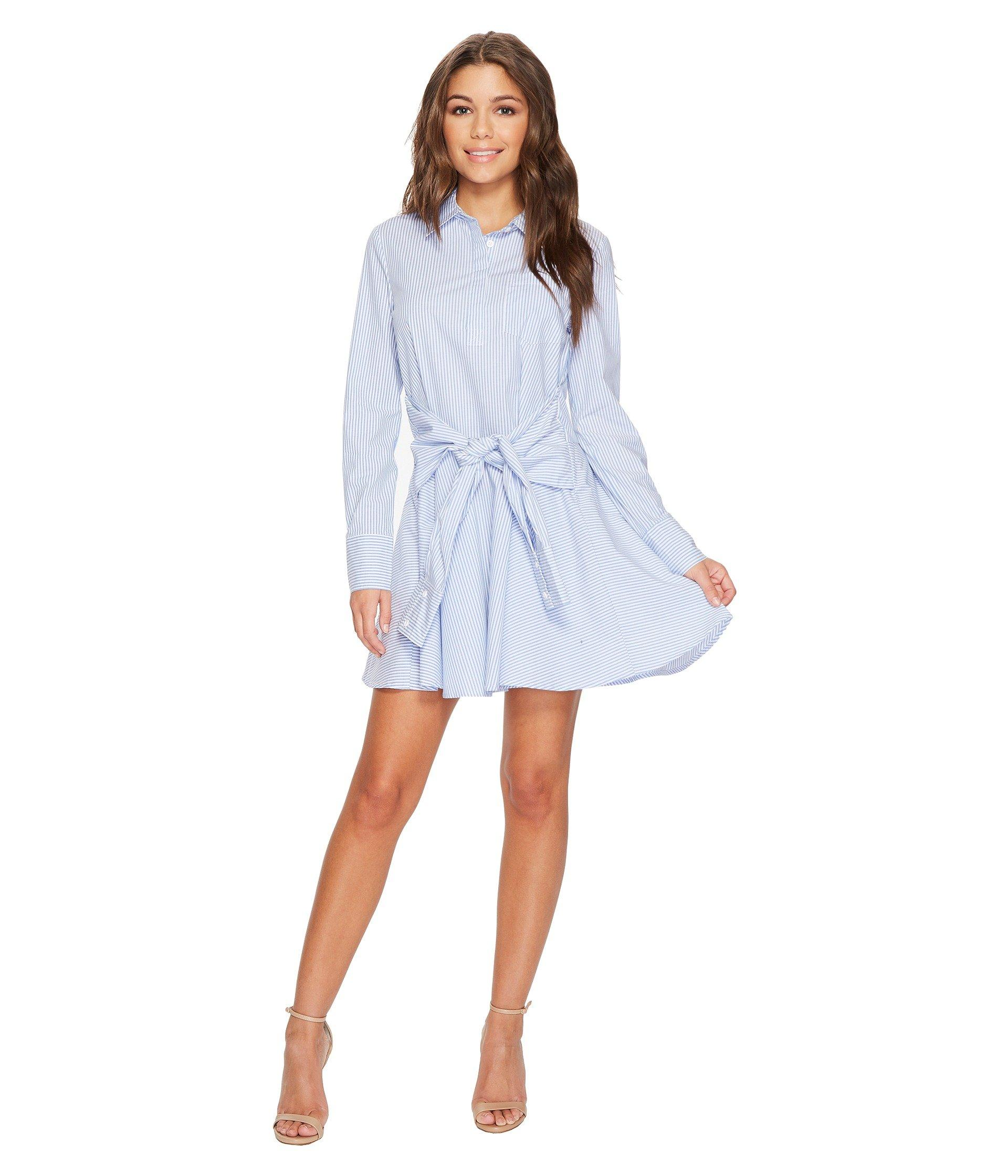 4ad4133511 Romeo & Juliet Couture Striped Tie-Up Waist Shirt Dress In Blue/White