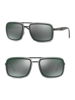 6506e1e6e1c3 Versace 63Mm Square Sunglasses In Dark Grey Mirror Green