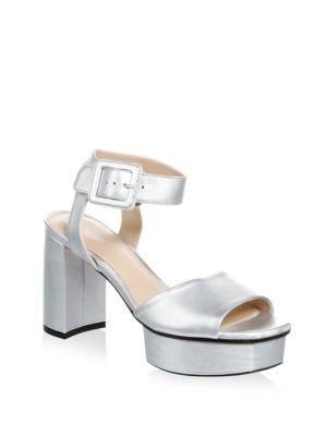 Stuart Weitzman Women's Newdeal Metallic Leather Platform Sandals In Silver