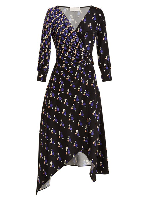 Peter Pilotto Graphic Spot-Print Silk Wrap Dress In Blue