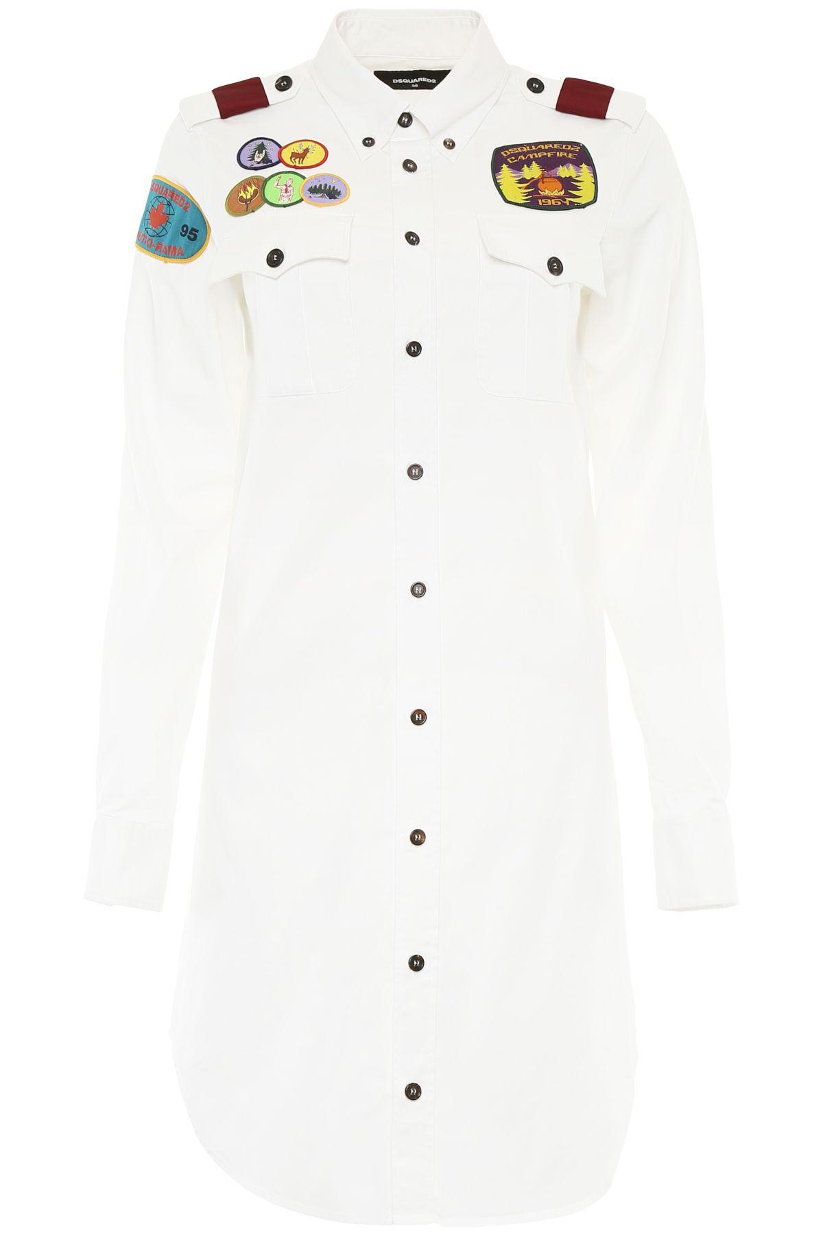 Dsquared2 Shirt Dress With Patches In Biancobianco