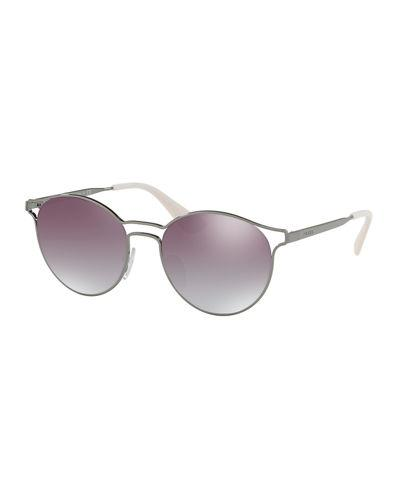 d4fafe6e129 Prada Round Metal Open-Inset Mirrored Sunglasses In Pink Gold