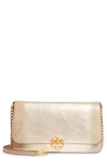 fa31199ee459 Tory Burch Chelsea Convertible Metallic Leather Clutch - Metallic In Gold