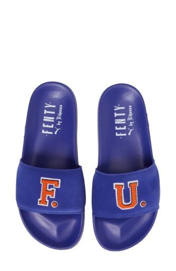 a51d012510c7 Puma Women s X Rihanna Fenty University Fur Leadcat Slide Sandals ...