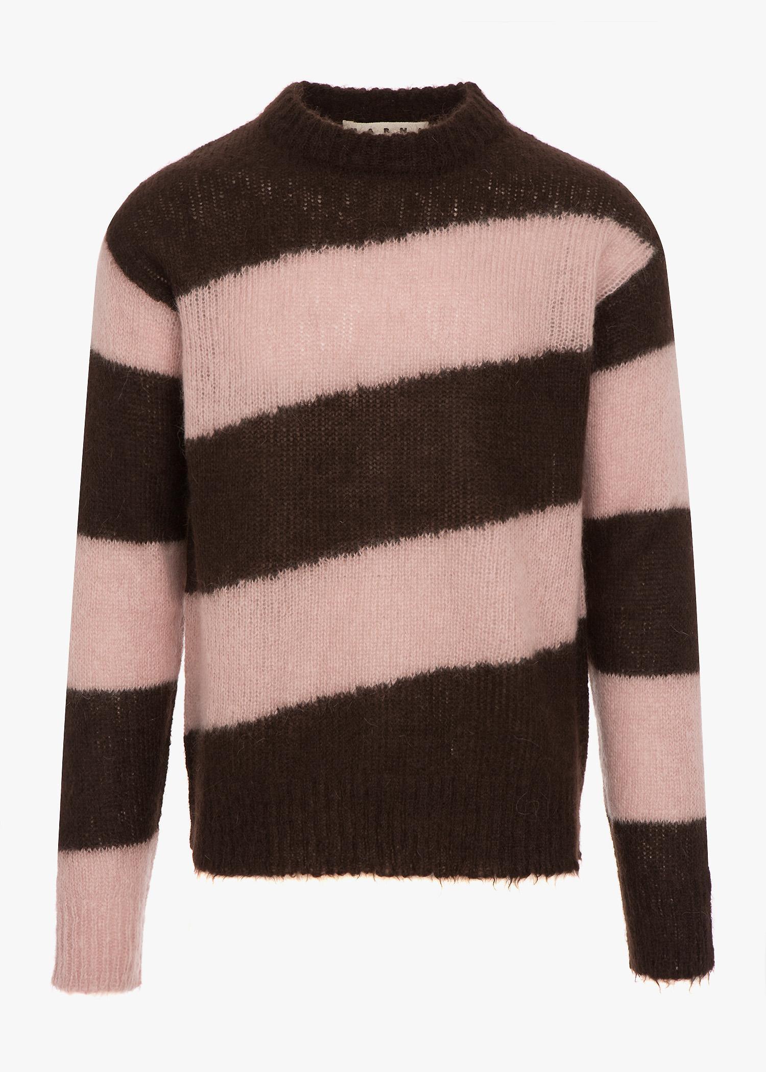 a516f30530e6ae Marni Big Striped Knit Sweater In Brown/Pink   ModeSens
