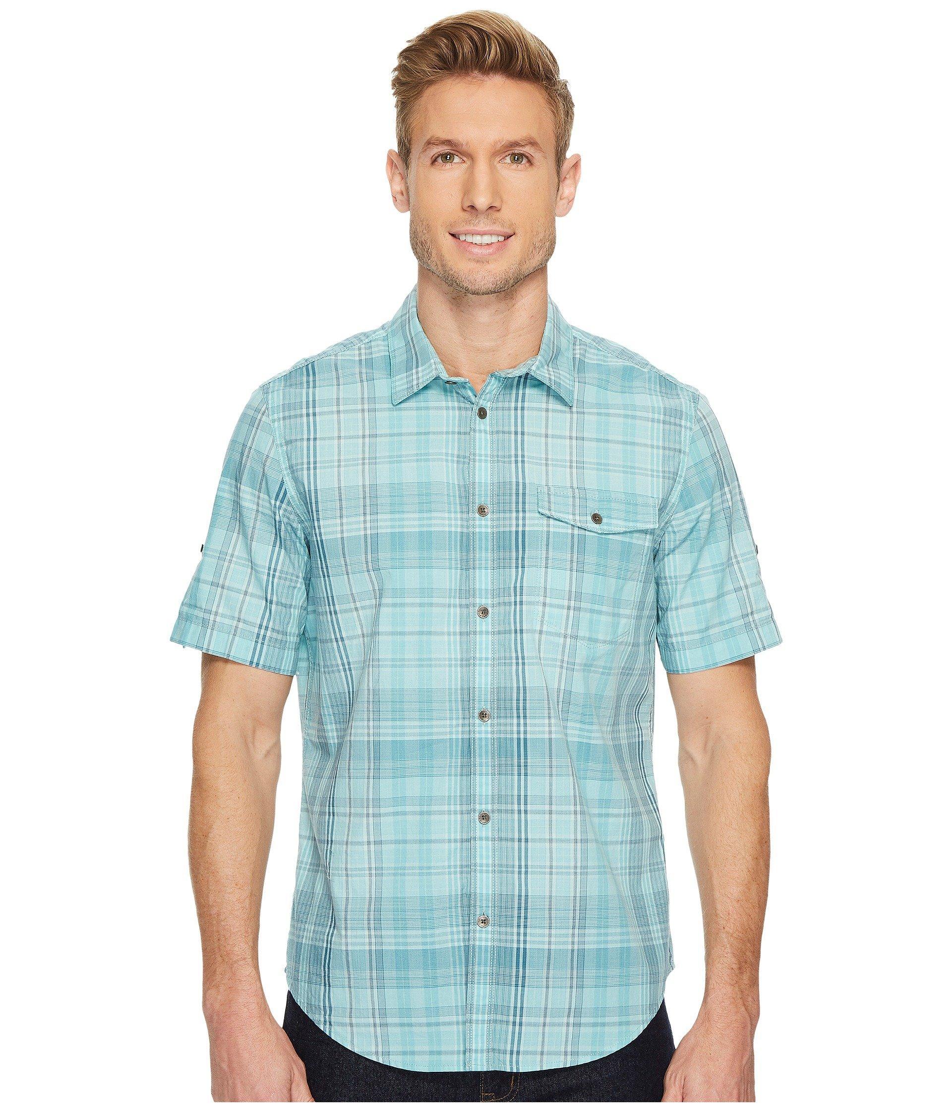 Calvin Klein Jeans Short Sleeve Plaid Button Down Shirt In Bay
