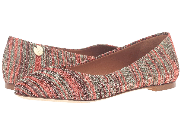 M Missoni Embellished Crochet Knit Ballet Flats In Red Modesens