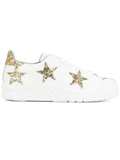 Chiara Ferragni Sneakers In White Leather With Stars In Gold Glitter In White Star Gold