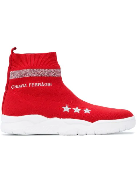 Chiara Ferragni Damenschuhe Damen Schuhe High Sneakers  Active In Red