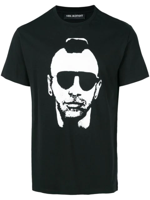 Neil Barrett Black Printed Cotton Jersey T-shirt