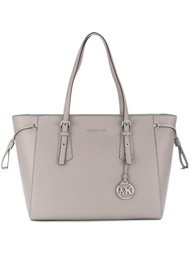 a3d3405d653a Michael Michael Kors Voyager Medium Top Zip Leather Tote In Grey ...