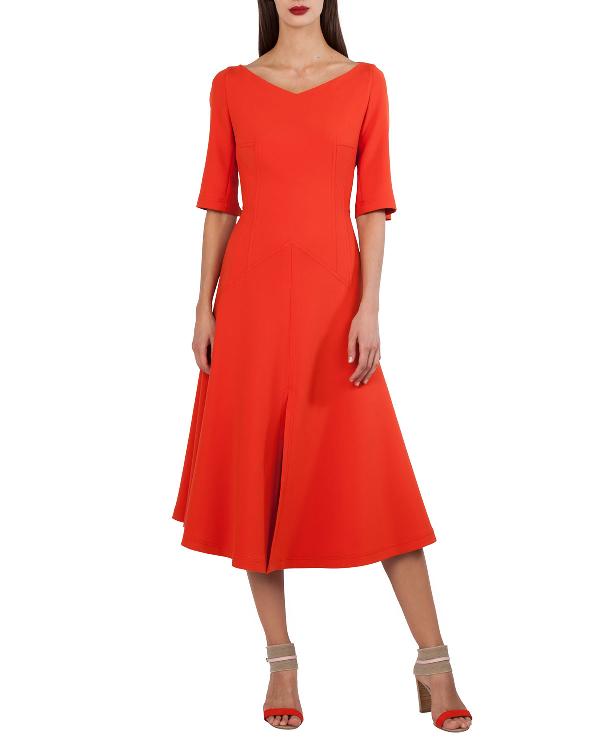 Akris Elbow-Sleeve A-Line Techno Stretch Midi Dress In Red