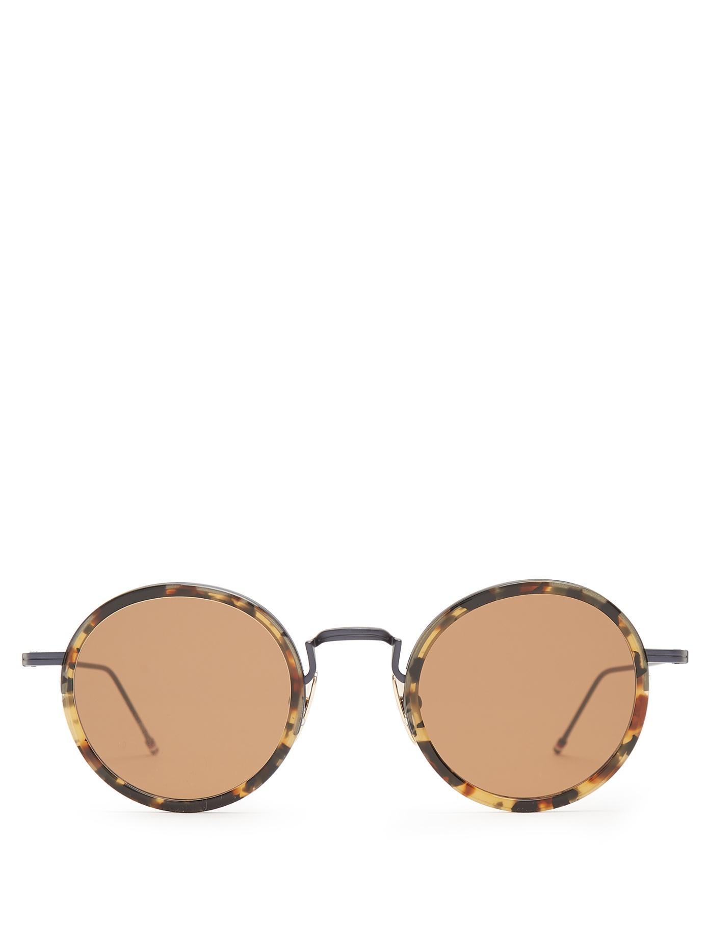 Thom Browne Tokyo Round-Frame Sunglasses In Brown Multi