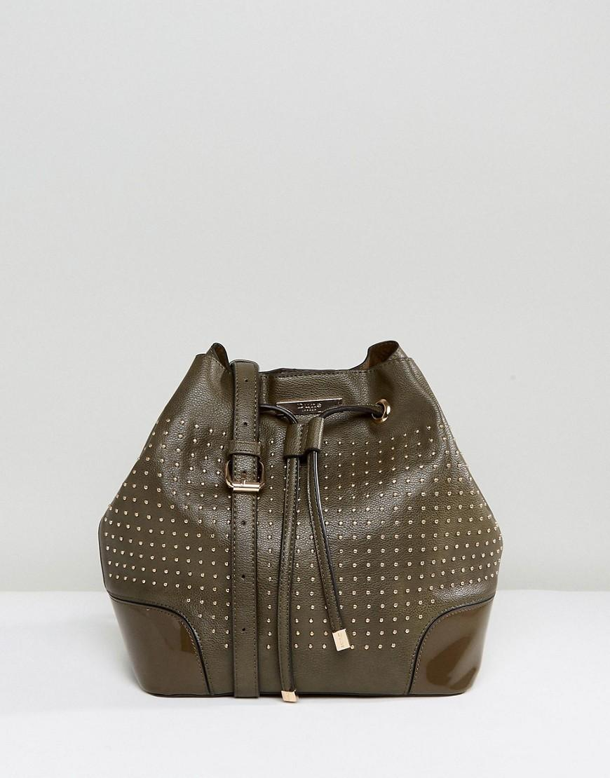 Dune Stacey Studded Khaki Shoulder Bucket Bag - Green