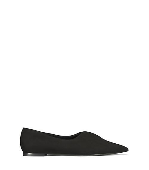 955509d9b6355 Tory Burch Lucia Oxford Suede Point-Toe Flats In Black