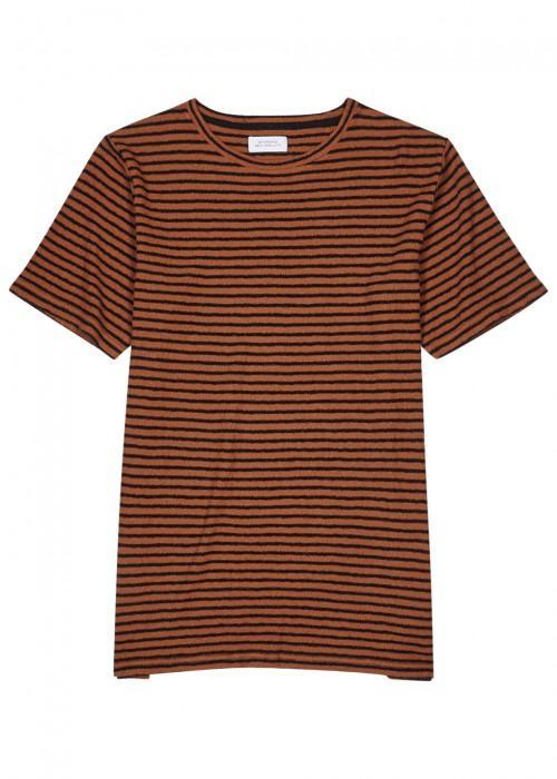 Saturdays Surf Nyc Brandon Striped Cotton T-Shirt In Copper