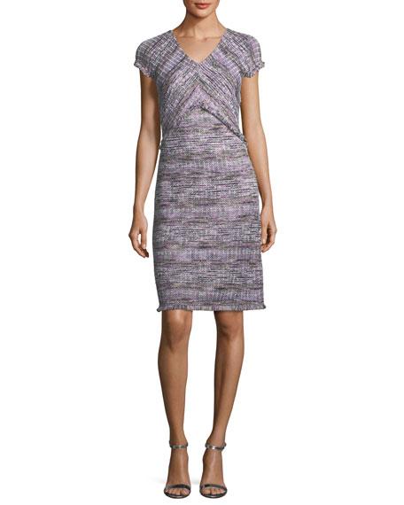 St. John Anna Woven Tweed A-Line Dress In Purple Pattern