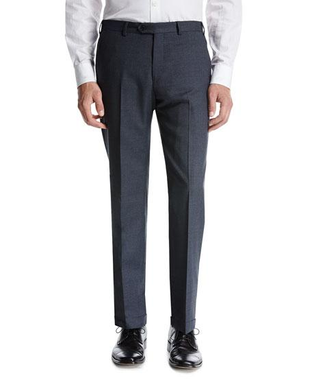 Armani Collezioni Wool Flat-front Trousers In Gray
