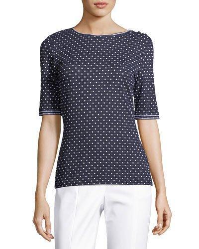 66ec6fa4b4982a St. John Dot-Print Short-Sleeve T-Shirt In Navy   ModeSens