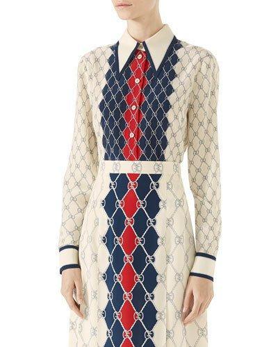 3b52e376a Gucci Rhombus-Print Silk Crepe De Chine Blouse In Multicolour | ModeSens