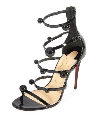 e826a07049d0 Christian Louboutin Atonana Patent Strappy Red Sole Sandal In Black ...