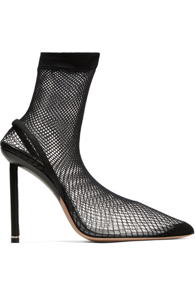 41d9fc3e24 Alexander Wang Caden Suede And Leather-Trimmed Fishnet Sock Boots In Black