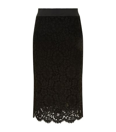 Dolce & Gabbana Straight Skirt In Cord Lace In Black
